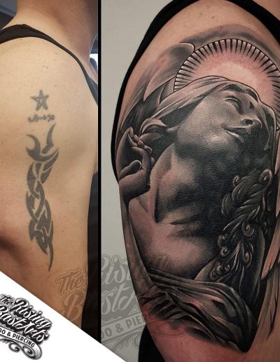 Cover-up tattoo by Jayvee